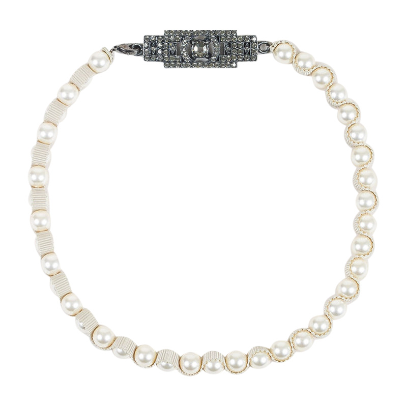 "Image of ""Lanvin Gunmetal Hardware & Faux Pearl Ribbon Crystal Plaque Strand"""