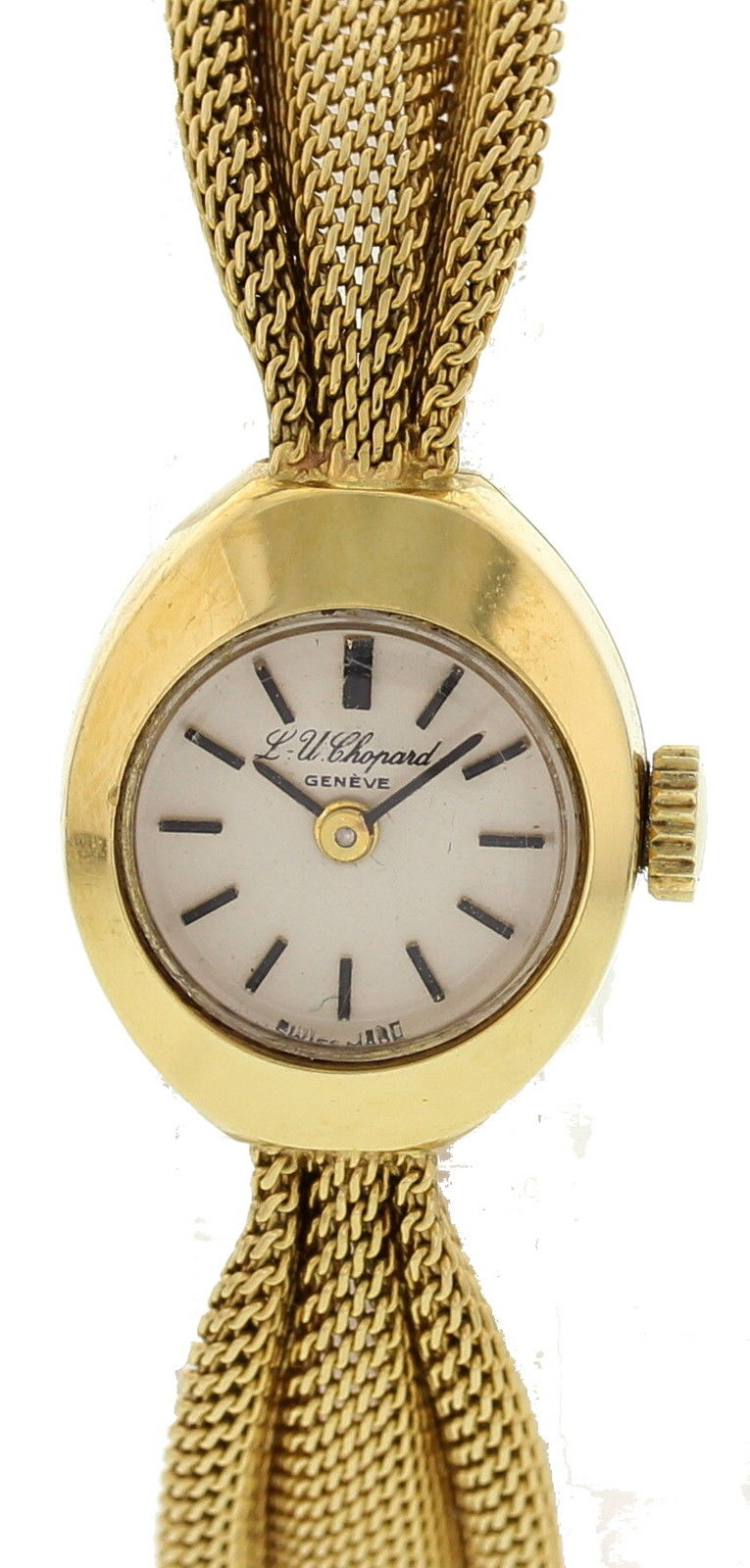 """Image of """"Chopard 18K Yellow Gold White Dial Manual Vintage 15mm Womens Watch"""""""