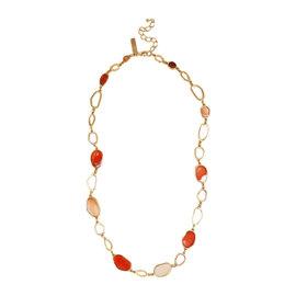 Oscar De La Renta 22K Gold Plated Brass & Red Orange Resin Abstract Necklace