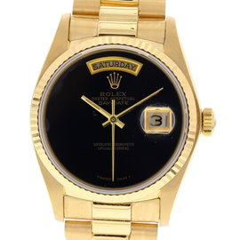 Rolex Day-Date 18038 18K Yellow Gold Black Dial Automatic 36mm Mens Watch