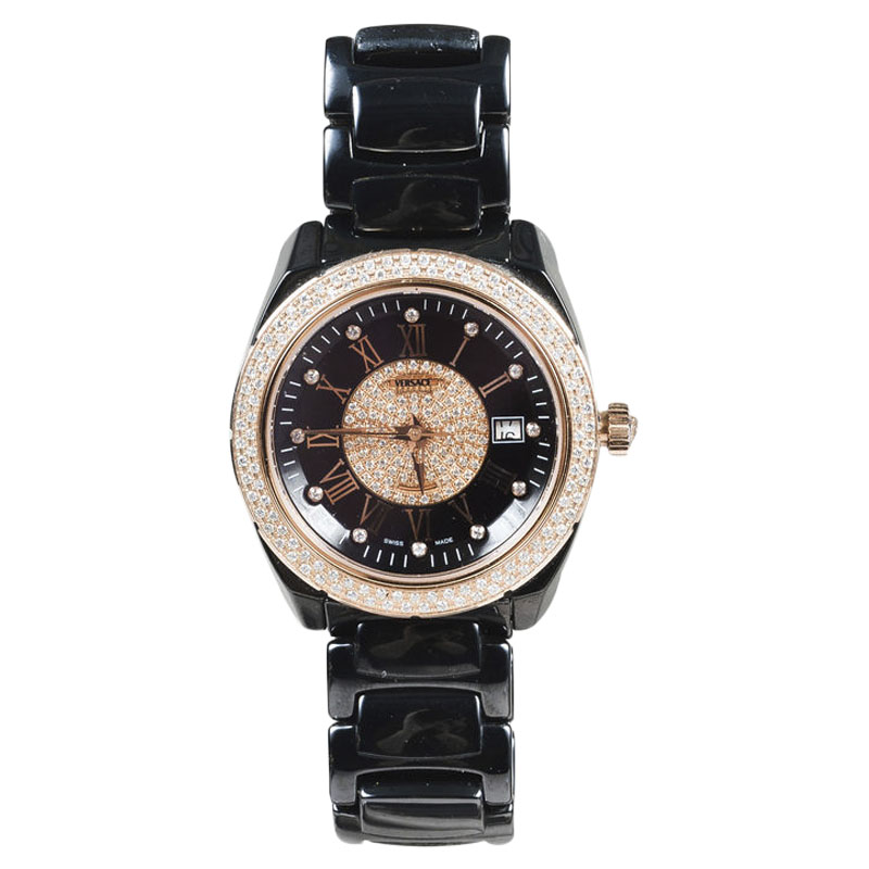 "Image of ""Versace 01Ac9 Gray Ceramic Rose Gold Stainless Steel Diamond 38mm"""