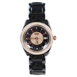 Versace 01AC9 Gray Ceramic Rose Gold Stainless Steel Diamond 38mm Unisex Watch
