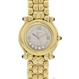 Chopard Happy Sport 27/6150-23 18K Yellow Gold White with Diamonds Quartz 26mm Womens Watch