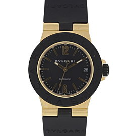 Bulgari Diagono AL32G 18K Yellow Gold & Rubber Automatic 32mm Unisex Watch