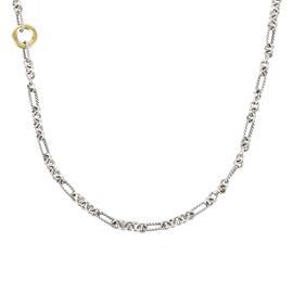 David Yurman 925 Sterling Silver & 18K Yellow Gold Cable Chain