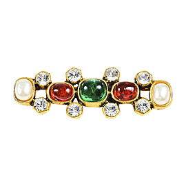 Chanel Gold Tone Metal Multicolor Gripoix Faux Pearl Embellished Brooch Pin