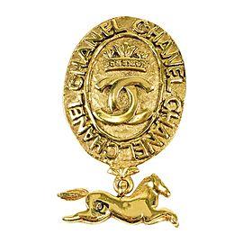 Chanel Gold Tone Metal 'CC' Crown Logo Horse Charm Medallion Brooch Pin