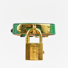 Hermes Kelly Gold Plated Hardware / Leather with Yellow Dial Womens Watch