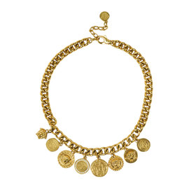 Versace Gold Tone Metal Crystal Embellished Charm Chain Link Necklace