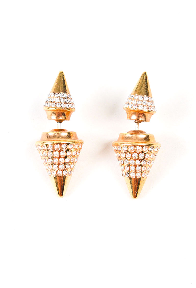 "Image of ""Vita Fede Yellow Gold Tone Metal with Crystal Earrings"""
