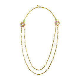 Chanel Gold Tone Pink Green Gripoix Faux Pearl Flower Chain Necklace
