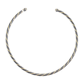David Yurman 925 Sterling Silver & 18K Yellow Gold Twisted Cable Choker Necklace