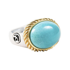 David Yurman Sterling Silver and 14K Yellow Gold with Turquoise Cable Ring Size 5