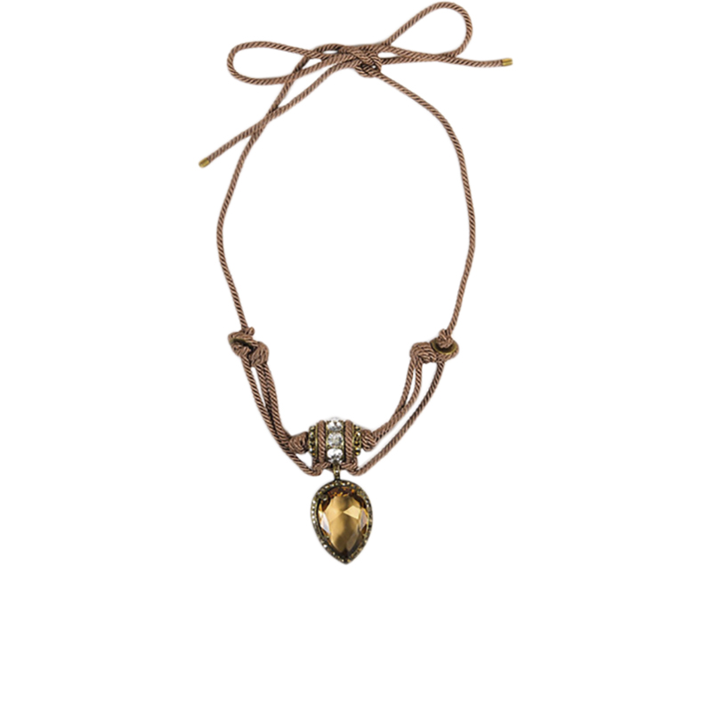 "Image of ""Lanvin Brass Brown Swarovski Crystal Self Tie Rope Pendant Necklace"""