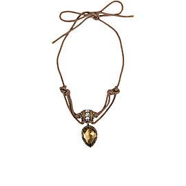 Lanvin Brass Brown Swarovski Crystal Self Tie Rope Pendant Necklace