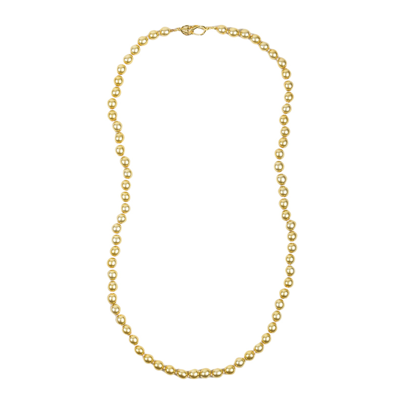 "Image of ""Kenneth Jay Lane Gold Tone Faux Pearl Single Strand Necklace"""