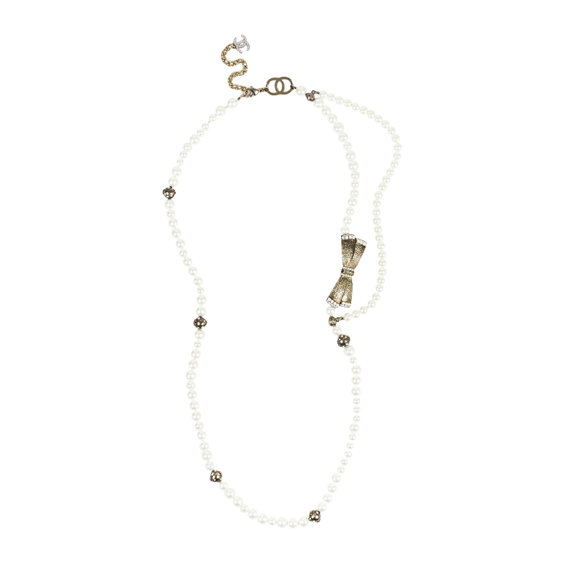 "Image of ""Chanel Silver Tone Metal & Faux Pearl 'cc' Crystal Double Strand"""