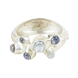Chanel 12P Silver Tone Blue Hammered Stone Embellished Bangle Bracelet