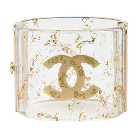 Chanel Clear & Metallic Gold Resin Glittered 'CC' Cuff Bracelet
