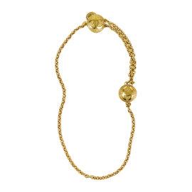 Chanel Gold Tone Metal Basket Weave 'CC' Medallion Chain Belt/Necklace