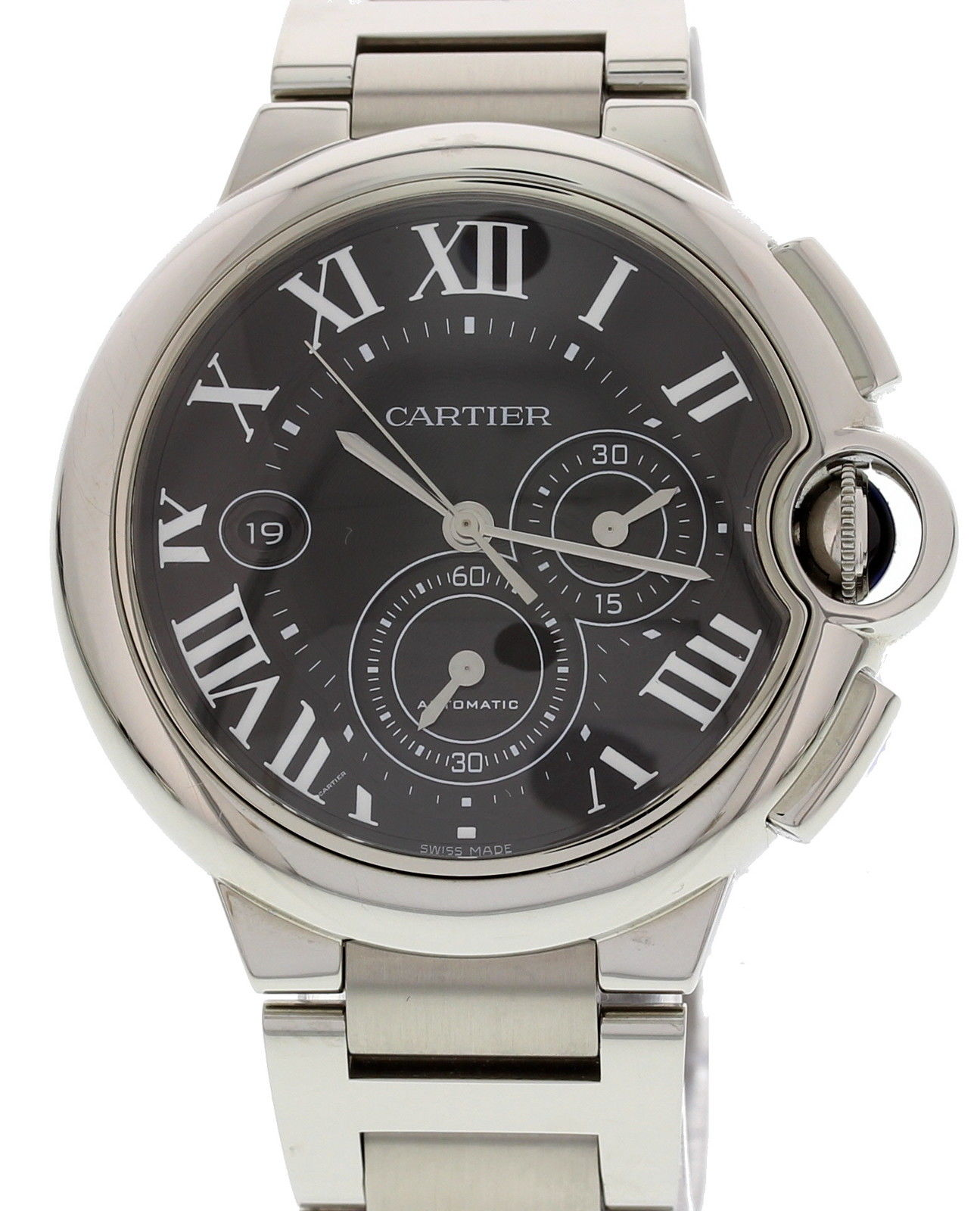 Cartier Ballon Bleu 3109 Stainless Steel Black Dial Automatic 44mm