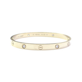 Cartier Love 18K Yellow Gold Diamond Bracelet Size 19