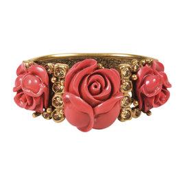 Oscar de la Renta Dark Rose Gold Tone Brass Resin & Crystal Rose Hinged Bracelet