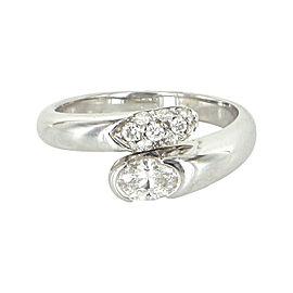 Bulgari 18K White Gold Diamond Bypass Ring Size 7.5