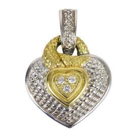 Judith Ripka 925 Sterling Silver 18K Yellow Gold & Diamond Heart Pendant