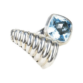 John Hardy 925 Sterling Silver Blue Topaz Ribbed Ring Size 7