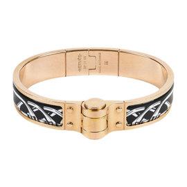 Hermes Rose Gold Plated Black Enamel Bracelet