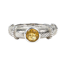 Judith Ripka 925 Sterling Silver & Yellow Citrine Stacking Ring Size 7