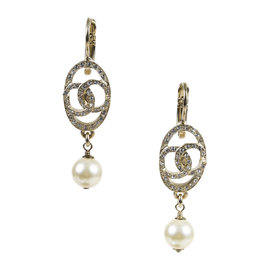 Chanel Gold Tone Crystal Faux Pearl 'CC' Drop Earrings