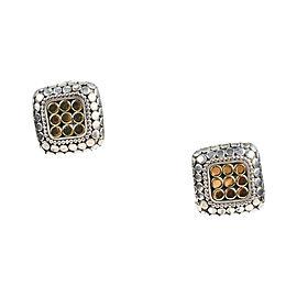John Hardy 925 Sterling Silver 18K Yellow Gold Polka Dot Square Post Earrings