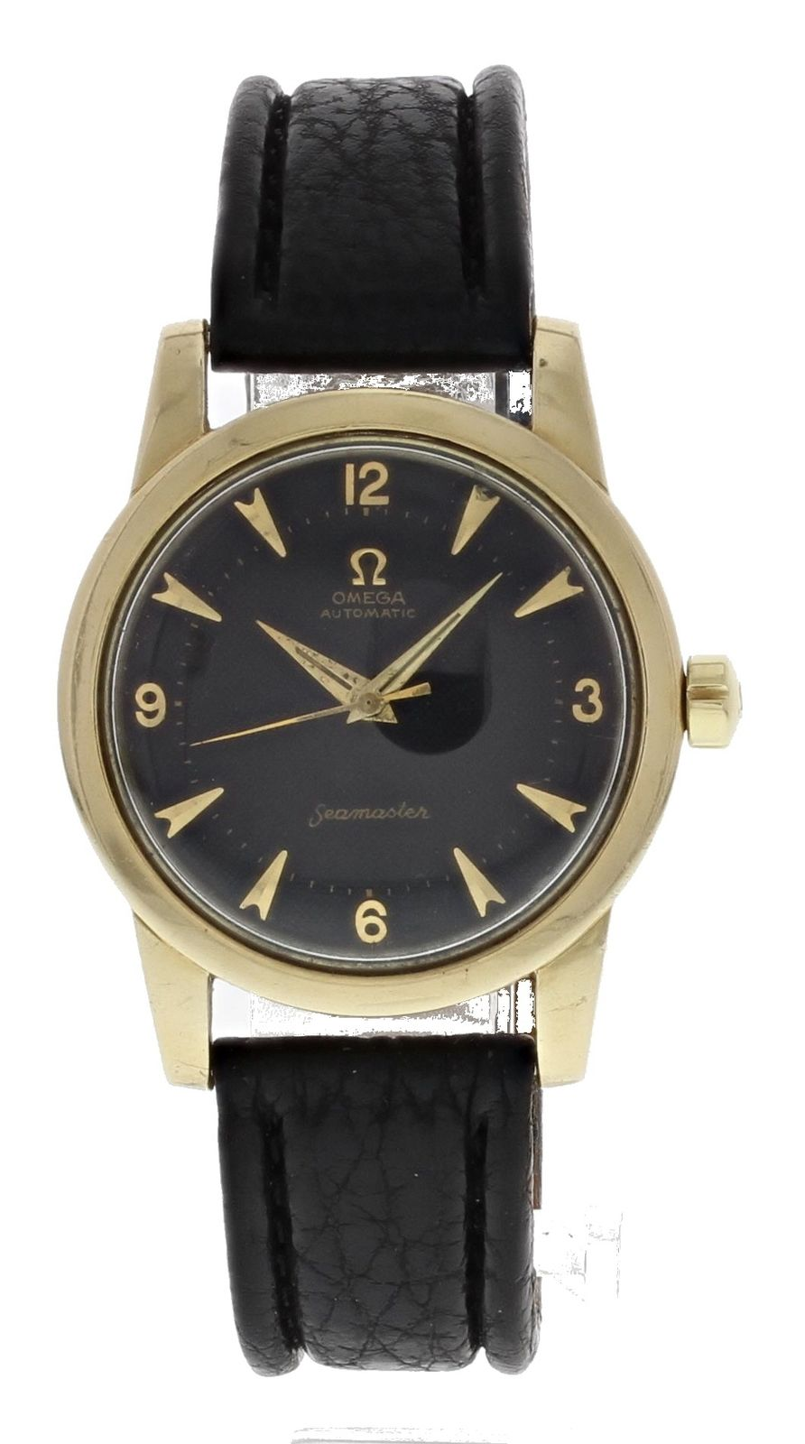 "Image of ""Omega Seamaster Gold Toned Stainless Steel & Leather Vintage Black"""
