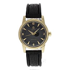 Omega Seamaster Gold Toned Stainless Steel & Leather Vintage Black Dial Automatic 34mm Mens Watch