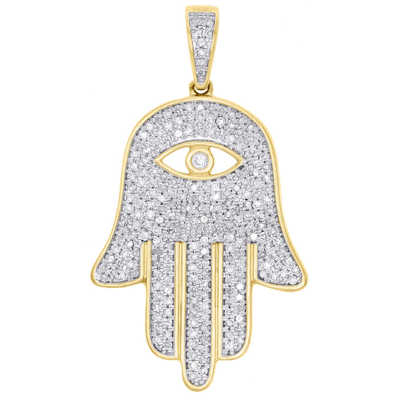 "Image of ""10K Yellow Gold with 1ct. Diamond Hamsa Hand Evil Eye Pendant"""