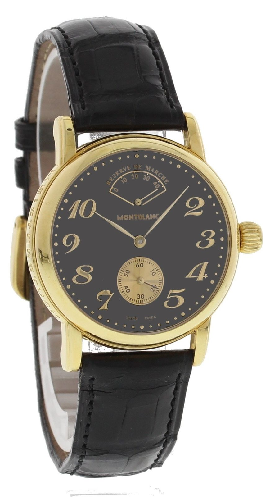 "Image of ""Montblanc Meisterstuck 7007 18K Yellow Gold & Leather Manual 36mm Mens"""