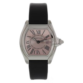 Cartier Roadster 2675 Stainless Steel & Leather Pink Dial Quartz 30mm Womens Watch