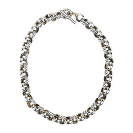 David Yurman 925 Sterling Silver Round Cable Link Necklace