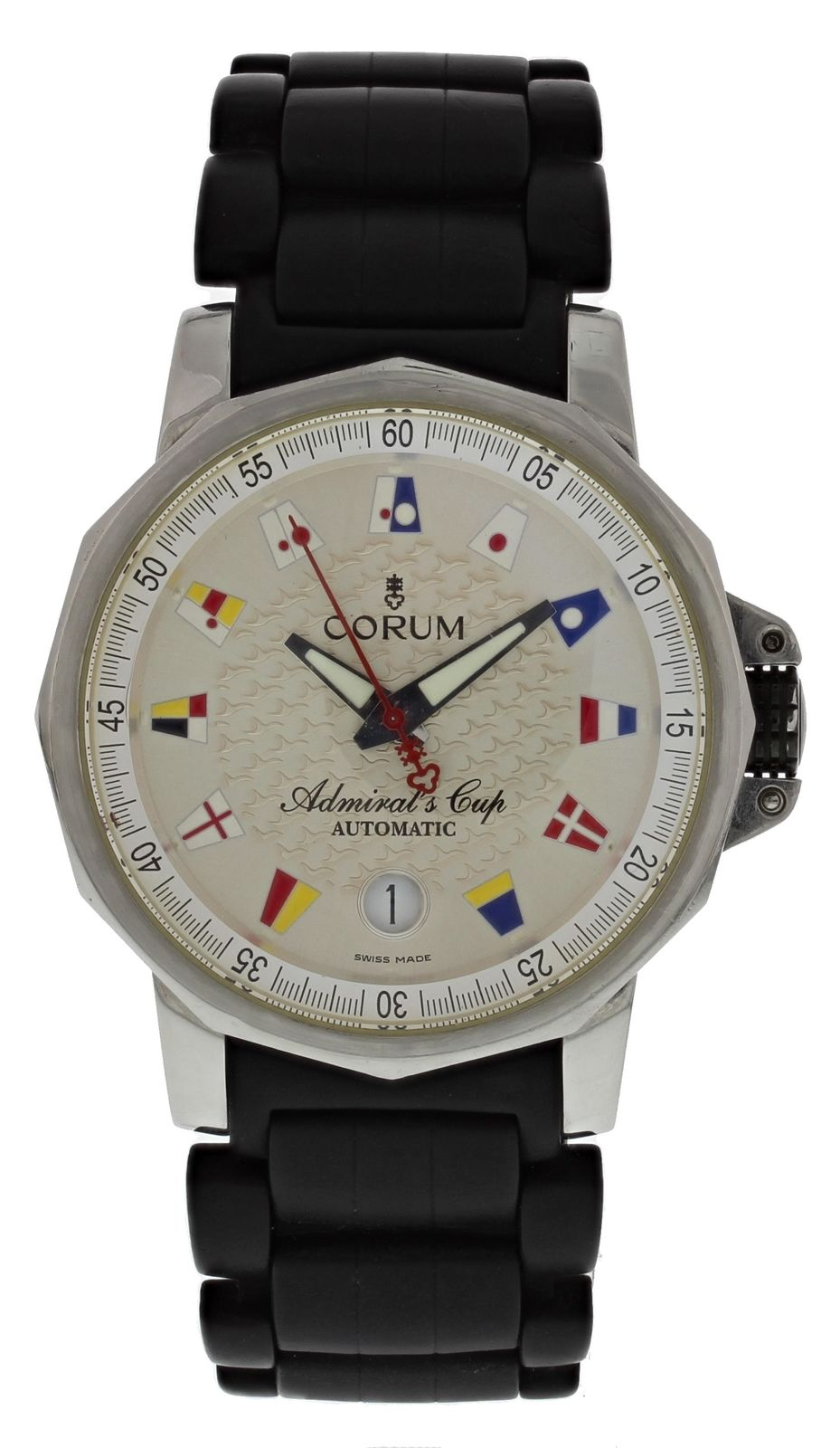 """""Corum Admirals Cup 082.830.20 Stainless Steel / Rubber 41mm Mens Watch"""""" 1807063"