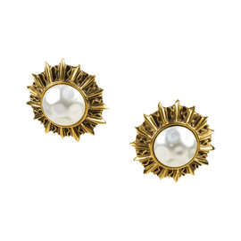 Chanel Gold Tone Hardware with Faux Pearl Sunburst Clip On Earrings