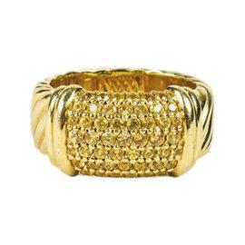 David Yurman 18K Yellow Gold & Yellow Sapphire Cable Ring Size 6