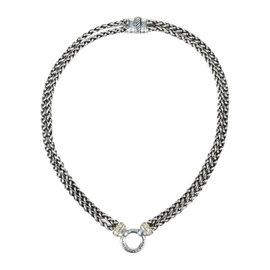 David Yurman 925 Sterling Silver & 0.22ct. Diamond Double Wheat Chain 'O' Pendant Necklace