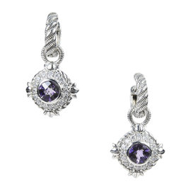 Judith Ripka Sterling Silver with Amethyst & Cubic Zirconia Drop Earrings