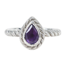Judith Ripka Sterling Silver with Amethyst & Cubic Zirconia Pear Cut Ring Size 5