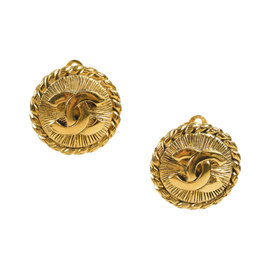 Chanel Textured 'CC' Gold Tone Hardware Clip On Earrings