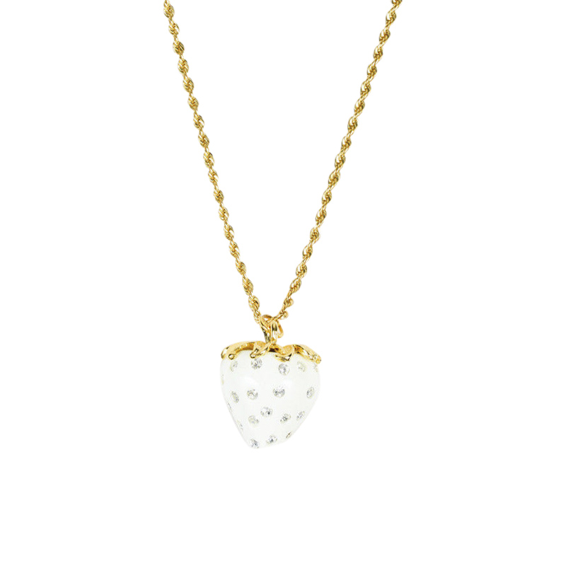 "Image of ""Kenneth Jay Lane Gold Tone Hardware Cream Strawberry Pendant Necklace"""