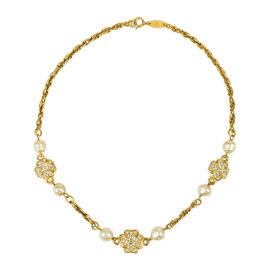 Chanel Gold Tone Hardware with Crystal Clover & Faux Pearl Station Necklace