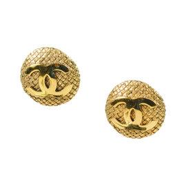 Chanel Basketweave 'CC' Gold Tone Hardware Medallion Clip On Earrings
